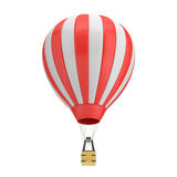 3d rendering of a red and white hot air balloon with a basket on white background. Air travel and aircraft. Tourism and recreation. Sky objects Stock Photography