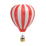 3d rendering of a red and white hot air balloon with a basket on white background. Air travel and aircraft. Tourism and recreation. Sky objects Royalty Free Stock Photos