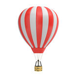 3d rendering of a red and white hot air balloon with a basket on white background. Air travel and aircraft. Tourism and recreation. Sky objects Royalty Free Stock Photo