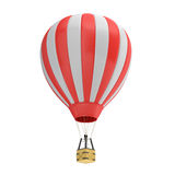 3d rendering of a red and white hot air balloon with a basket on white background. Air travel and aircraft. Tourism and recreation. Sky objects Stock Image