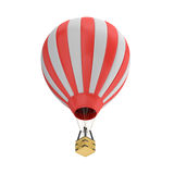 3d rendering of a red and white hot air balloon with a basket on white background. Royalty Free Stock Photography