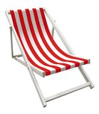 Chaise lounger - red. 3D rendering of red and white striped chaise lounger isolated on white Royalty Free Stock Image