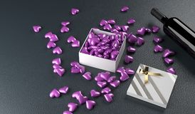 3D Rendering Of Red Wine Bottle With Opened Gift Box Full. Of Purple Hearts On Leather Surface St.Valentine`s Day Stock Photography