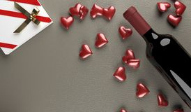 3D Rendering  Of Red Wine Bottle With Opened Gift Box Full Of Red Hearts. On Leather Surface St.Valentine`s Day Stock Photo