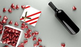 3D Rendering  Of Red Wine Bottle With Opened Gift Box Full Of Red Hearts. On Leather Surface St.Valentine`s Day Stock Photos