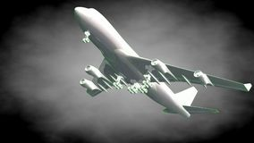 3d rendering of a reflective airplane with green outlined lines. As blueprint on dark background Royalty Free Stock Photos