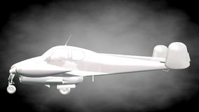 3d rendering of a reflective airplane with green outlined lines. As blueprint on dark background royalty free illustration