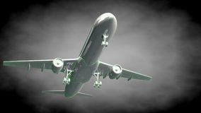 3d rendering of a reflective airplane with green outlined lines Royalty Free Stock Photography