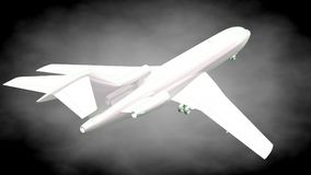 3d rendering of a reflective airplane with green outlined lines Stock Photo