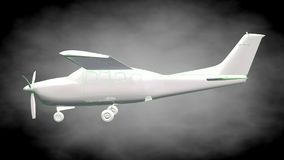3d rendering of a reflective airplane with green outlined lines Stock Image
