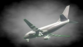 3d rendering of a reflective airplane with green outlined lines. As blueprint on dark background Royalty Free Stock Photography