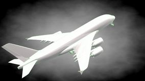 3d rendering of a reflective airplane with green outlined lines. As blueprint on dark background Stock Image