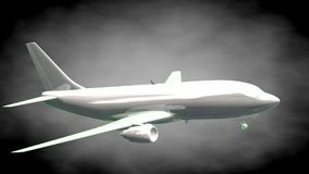 3d rendering of a reflective airplane with green outlined lines. As blueprint on dark background Stock Photo