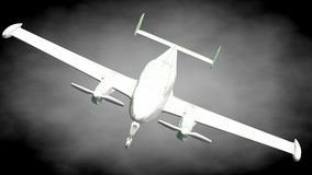 3d rendering of a reflective airplane with green outlined lines. As blueprint on dark background Stock Photos