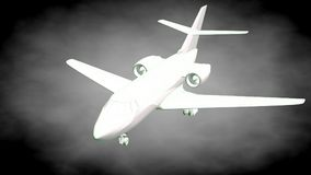3d rendering of a reflective airplane with green outlined lines. As blueprint on dark background Royalty Free Stock Images