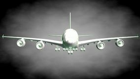3d rendering of a reflective airplane with green outlined lines. As blueprint on dark background stock illustration