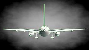 3d rendering of a reflective airplane with green outlined lines Stock Photos