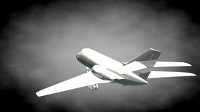 3d rendering of a reflective airplane with green outlined lines. As blueprint on dark background Royalty Free Stock Image