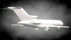 3d rendering of a reflective airplane with green outlined lines. As blueprint on dark background Stock Images