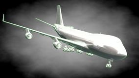 3d rendering of a reflective airplane with green outlined lines. As blueprint on dark background vector illustration