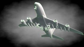 3d rendering of a reflective airplane with green outlined lines. As blueprint on dark background Royalty Free Stock Photo