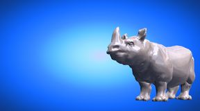 3d rendering of a hippo reflective on a blue gradient background. 3d rendering of a reflective on a background Stock Images