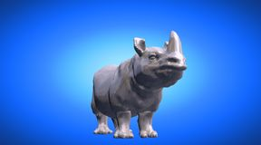 3d rendering of a hippo reflective on a blue gradient background. 3d rendering of a reflective on a background Stock Photos