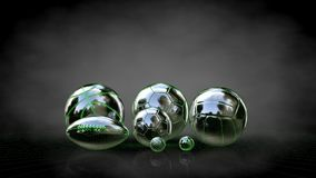 3d rendering of a reflective balls with green outlined lines as. Blueprint on dark background Royalty Free Stock Photos