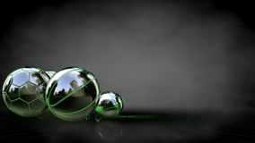3d rendering of a reflective balls with green outlined lines as. Blueprint on dark background Stock Images