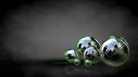 3d rendering of a reflective balls with green outlined lines as. Blueprint on dark background Royalty Free Stock Photography