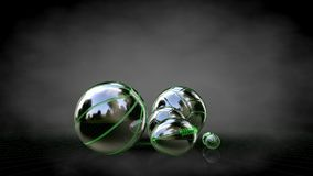 3d rendering of a reflective balls with green outlined lines as. Blueprint on dark background Royalty Free Stock Image