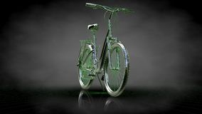 3d rendering of a reflective bike with green outlined lines as b. Lueprint on dark background Royalty Free Stock Image