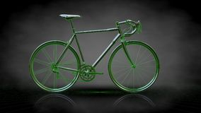 3d rendering of a reflective bike with green outlined lines as b. Lueprint on dark background Royalty Free Stock Photo