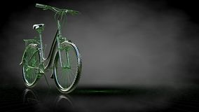 3d rendering of a reflective bike with green outlined lines as b. Lueprint on dark background Royalty Free Stock Photos