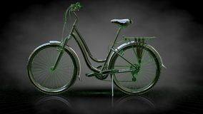 3d rendering of a reflective bike with green outlined lines as b. Lueprint on dark background Stock Images