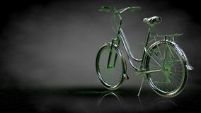 3d rendering of a reflective bike with green outlined lines as b. Lueprint on dark background Stock Image