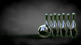 3d rendering of a reflective bowling set with green outlined lin Stock Image