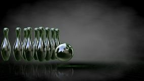 3d rendering of a reflective bowling set with green outlined lin Stock Photo