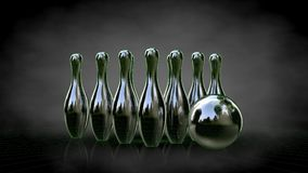 3d rendering of a reflective bowling set with green outlined lin Stock Photos