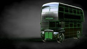 3d rendering of a reflective bus with green outlined lines as bl Stock Images