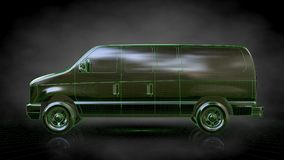 3d rendering of a reflective car with green outlined lines as bl Royalty Free Stock Photos