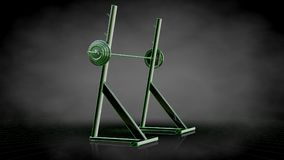 3d rendering of a reflective gym tools with green outlined lines Stock Photo