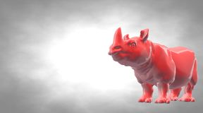 3d rendering of a reflective hippo animal on a circual gradient. Background Stock Photography