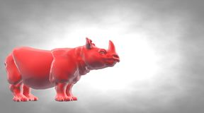 3d rendering of a reflective hippo animal on a circual gradient. Background Royalty Free Stock Image