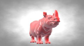 3d rendering of a reflective hippo animal on a circual gradient. Background Stock Photos