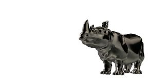 3d rendering of a reflective hippo animal and isolated on a whit. E background Royalty Free Stock Image