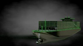 3d rendering of a reflective huge cargo ship with green outlined Stock Photography