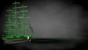 3d rendering of a reflective pirate boat with green outlined lin. Es as blueprint on dark background Royalty Free Stock Photos