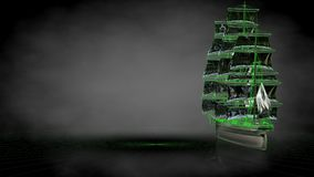 3d rendering of a reflective pirate boat with green outlined lin. Es as blueprint on dark background Stock Photos