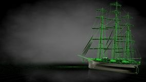 3d rendering of a reflective pirate boat with green outlined lin. Es as blueprint on dark background Royalty Free Stock Images